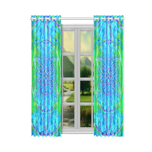 """protection in nature colors-teal, blue and green New Window Curtain 50"""" x 84""""(One Piece)"""