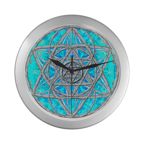 protection in blue harmony Silver Color Wall Clock