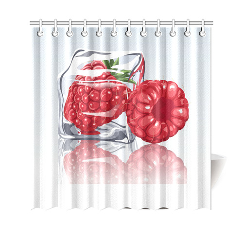 Ice Cube Raspberry Cool Summer Fruit Shower Curtain 69x70