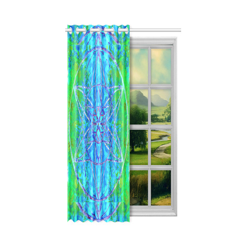 """protection in nature colors-teal, blue and green New Window Curtain 52"""" x 63""""(One Piece)"""