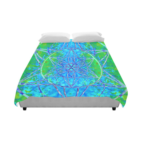 """protection in nature colors-teal, blue and green Duvet Cover 86""""x70"""" ( All-over-print)"""