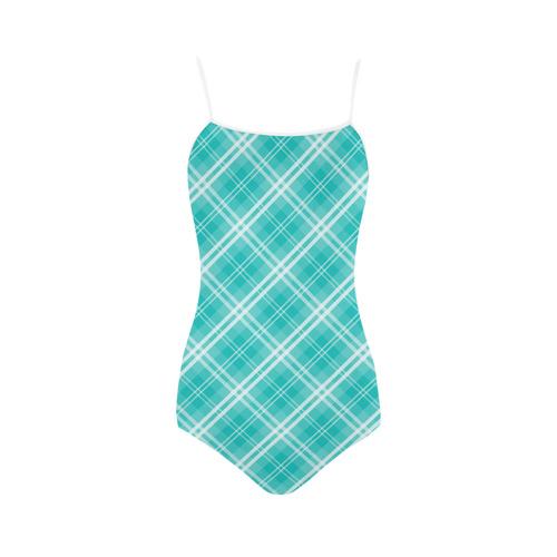 McTiffany Aqua Blue Tartan Check Strap Swimsuit ( Model S05)
