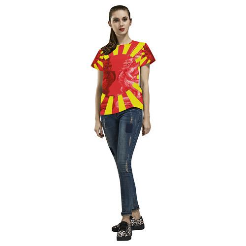 Yin Yang dragons All Over Print T-Shirt for Women (USA Size) (Model T40)