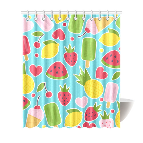 Summer Fruit Hearts Ice Cream Shower Curtain 72x84