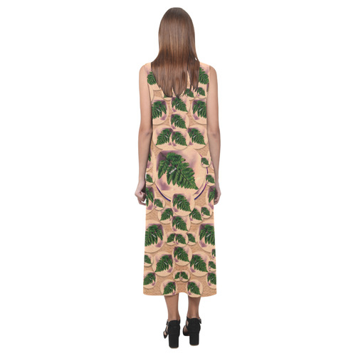 Made In Taiwan pop art Phaedra Sleeveless Open Fork Long Dress (Model D08)