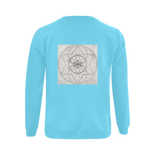 protection through fundamental mineral energy turquoise Gildan Crewneck Sweatshirt(NEW) (Model H01)