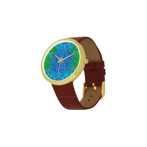 protection in nature colors-teal, blue and green Women's Golden Leather Strap Watch(Model 212)