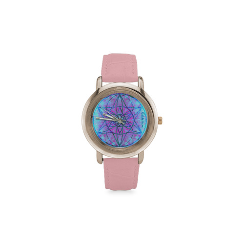 protection through an indigo wave Women's Rose Gold Leather Strap Watch(Model 201)