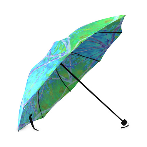 protection in nature colors-teal, blue and green Foldable Umbrella (Model U01)