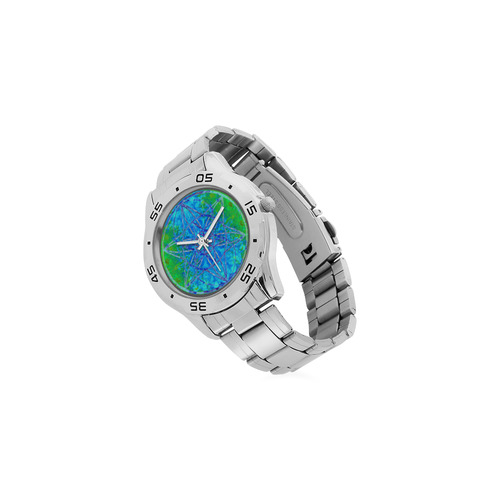 protection in nature colors-teal, blue and green Men's Stainless Steel Analog Watch(Model 108)
