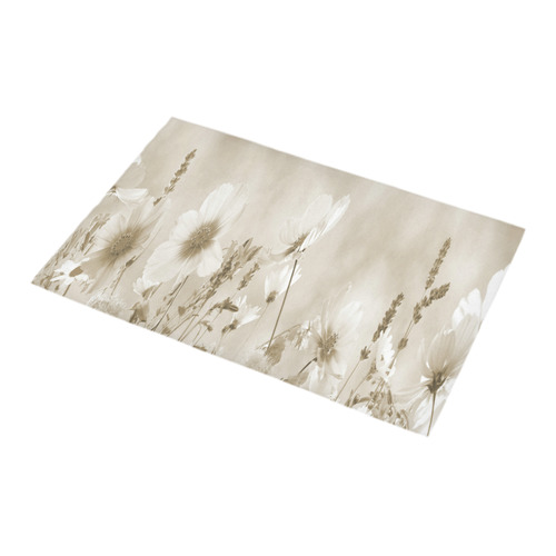Beige Shaded Wildflowers Bath Rug 16''x 28''