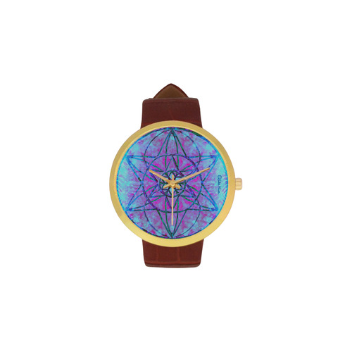 protection through an indigo wave Women's Golden Leather Strap Watch(Model 212)