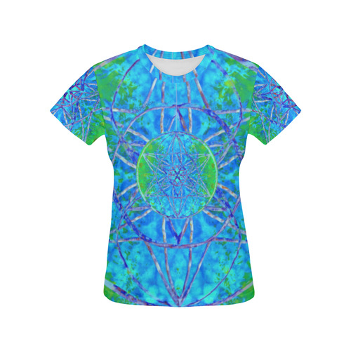 protection in nature colors-teal, blue and green All Over Print T-Shirt for Women (USA Size) (Model T40)