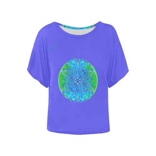 protection in nature colors-teal, blue and green-2 Women's Batwing-Sleeved Blouse T shirt (Model T44)