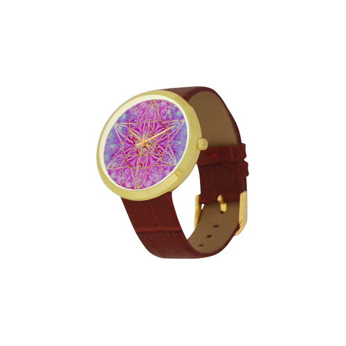 protection in purple colors Women's Golden Leather Strap Watch(Model 212)