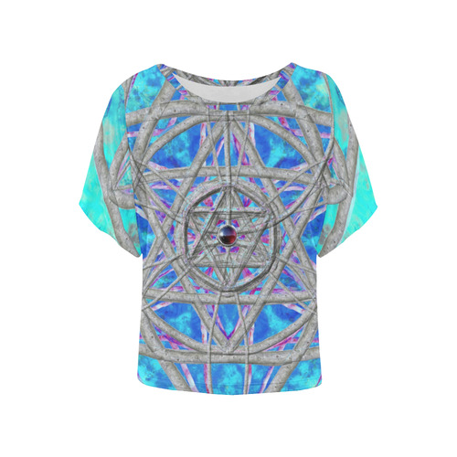 protection in blue harmony Women's Batwing-Sleeved Blouse T shirt (Model T44)