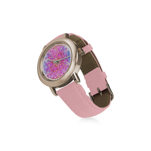 protection in purple colors Women's Rose Gold Leather Strap Watch(Model 201)