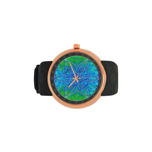 protection in nature colors-teal, blue and green Men's Rose Gold Resin Strap Watch(Model 308)