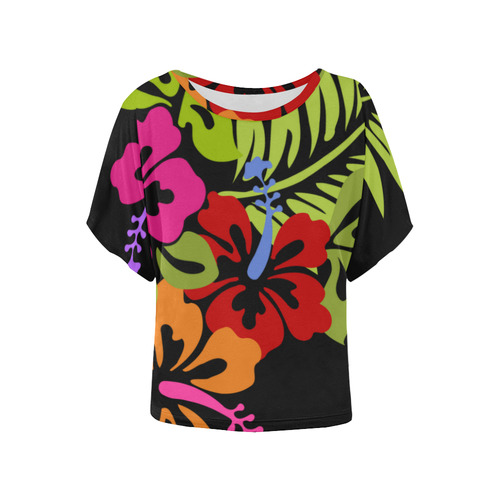 Tropical Hibiscus Flowers Bouquet Womens Batwing Sleeved Blouse T