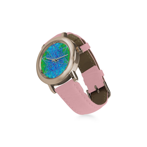 protection in nature colors-teal, blue and green Women's Rose Gold Leather Strap Watch(Model 201)