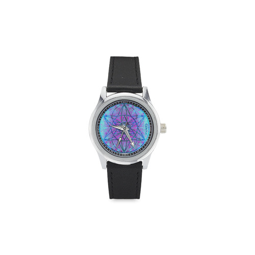 protection through an indigo wave Kid's Stainless Steel Leather Strap Watch(Model 208)