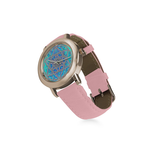 protection in blue harmony Women's Rose Gold Leather Strap Watch(Model 201)