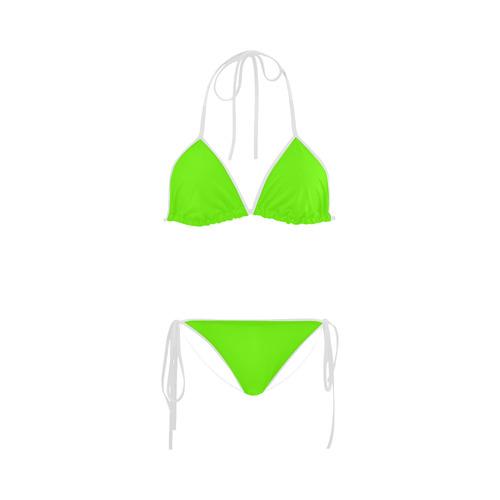 5024143ef Super Bright Fluorescent Green Neon & White Custom Bikini Swimsuit | ID:  D1621207