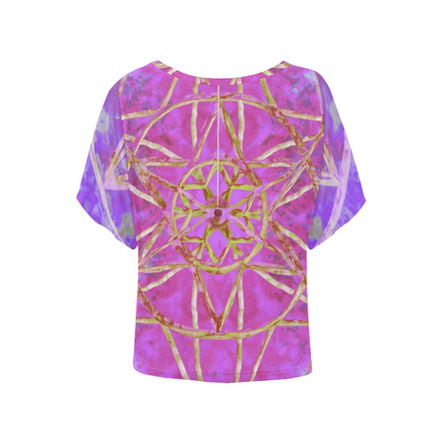 protection in purple colors Women's Batwing-Sleeved Blouse T shirt (Model T44)