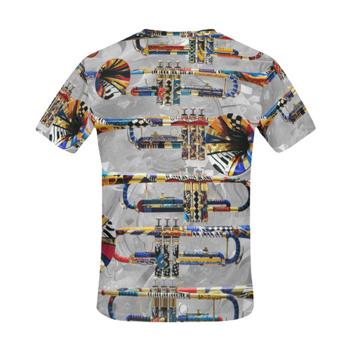 Men's Trumpet T Shirt Colorful by Juleez All Over Print T-Shirt for Men (USA Size) (Model T40)