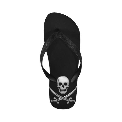 Skull and Cross Swords - Jolly Roger Pirate Flip Flops for Men/Women (Model 040)