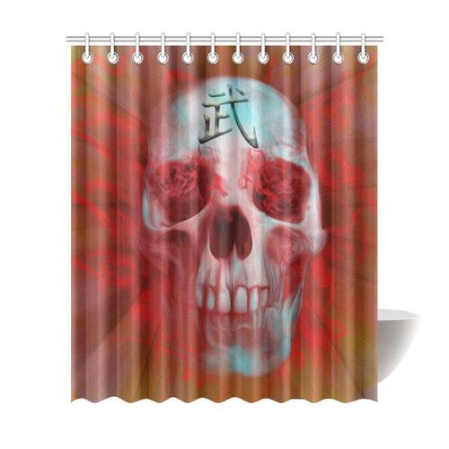 Warrior Kanji Skull Shower Curtain 72x84