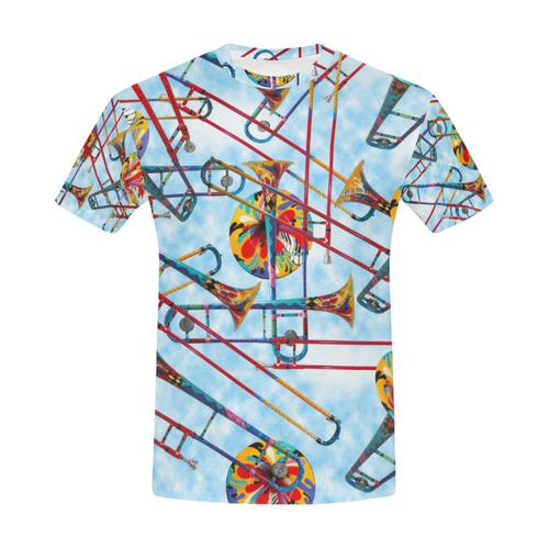 Men's T Shirt Colorful Trombone Art Print By Juleez All Over Print T-Shirt for Men (USA Size) (Model T40)