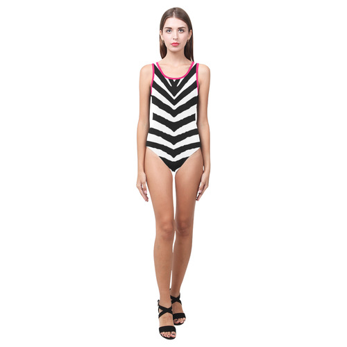 81cd295882 Black and White Zebra Safari Stripes Hot Pink Piping Vest One Piece Swimsuit  (Model S04)