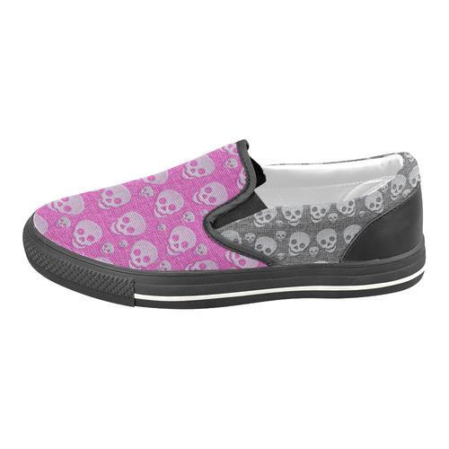 SKULLS PINK AND BLACK Slip-on Canvas Shoes for Kid (Model 019)