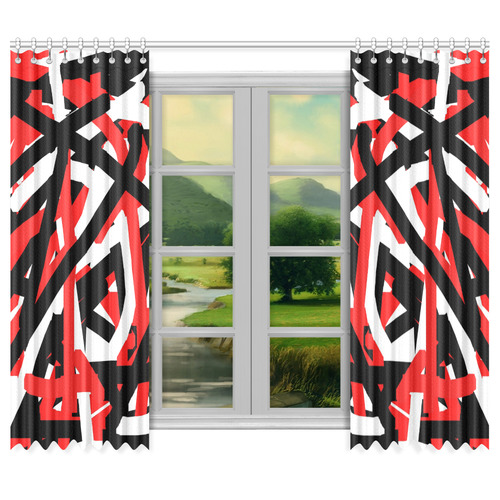 "Red Black and White Graffiti Window Curtain 50""x84""(Two Piece)"