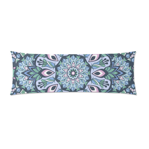 "Romantic Fractal Fantasy Blues Custom Zippered Pillow Case 21""x60""(Two Sides)"