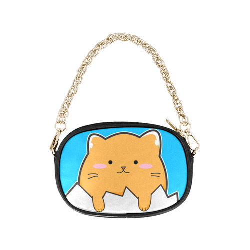Happy Cartoon Cat Egg Chain Purse (Model 1626)