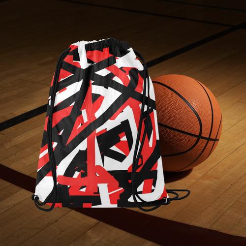 "Red Black and White Graffiti Medium Drawstring Bag Model 1604 (Twin Sides) 13.8""(W) * 18.1""(H)"