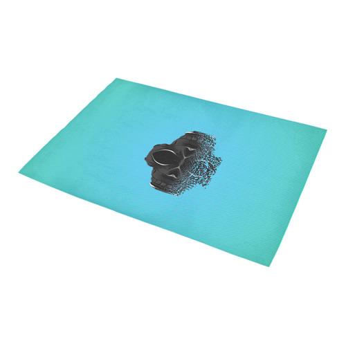 "fractal black skull portrait with blue abstract background Azalea Doormat 24"" x 16"" (Sponge Material)"