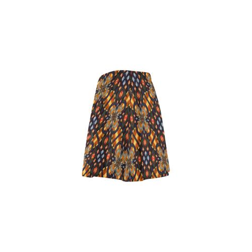 Amber Brown and Blue Geometric Mini Skating Skirt (Model D36)