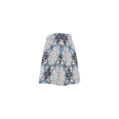 Teal Blue Geometric Mini Skating Skirt (Model D36)