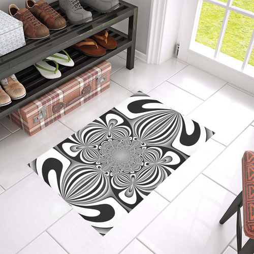 "Shades of Grey Flower Ornament Azalea Doormat 24"" x 16"" (Sponge Material)"