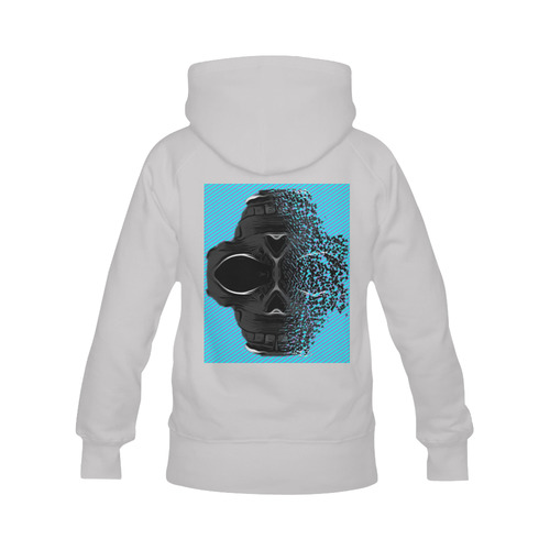 fractal black skull portrait with blue abstract background Men's Classic Hoodie (Remake) (Model H10)