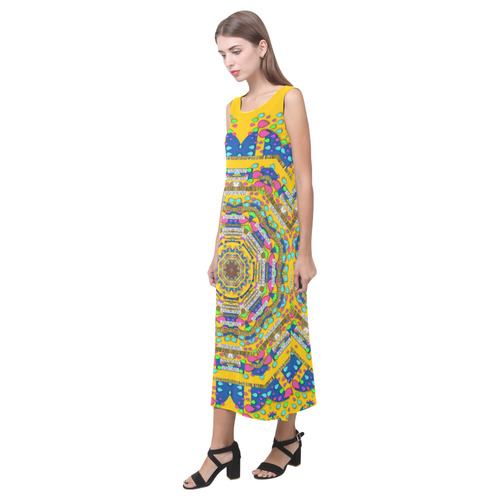 Happy fantasy earth mandala Phaedra Sleeveless Open Fork Long Dress (Model D08)