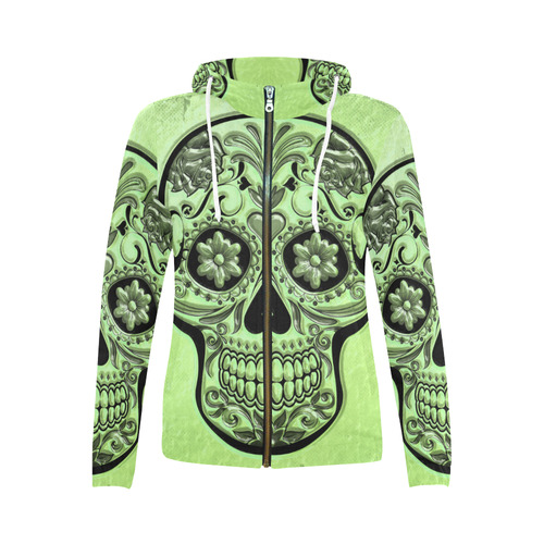 Skull20170483_by_JAMColors All Over Print Full Zip Hoodie for Women (Model H14)