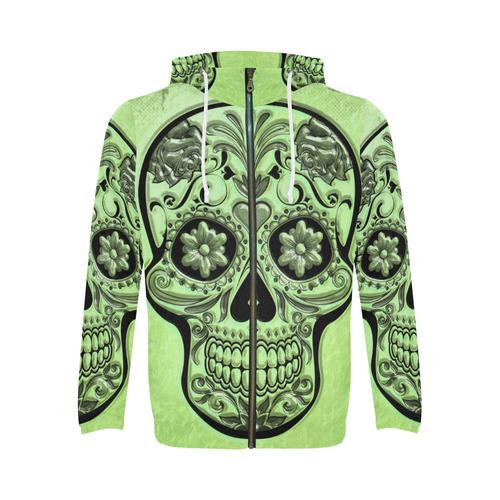 Skull20170483_by_JAMColors All Over Print Full Zip Hoodie for Men (Model H14)