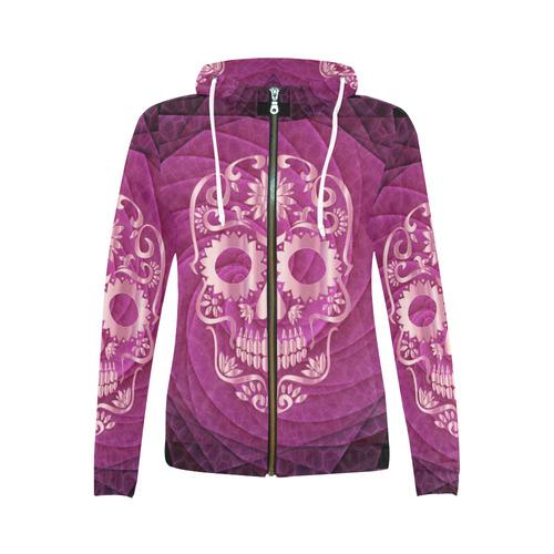 Skull20170537_by_JAMColors All Over Print Full Zip Hoodie for Women (Model H14)