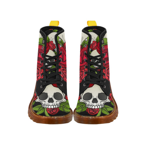 Skulls With Red Roses Martin Boots For Women Model 1203H