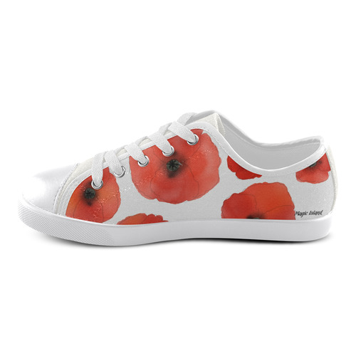 Red Poppies. Inspired by the Magic Island of Gotland. Canvas Kid's Shoes (Model 016)