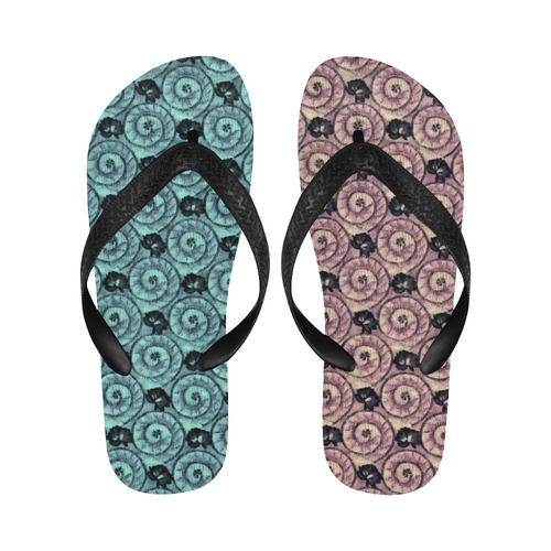 Shells and Flowers New Flip Flops for Men/Women (Model 040) (Both Customized)